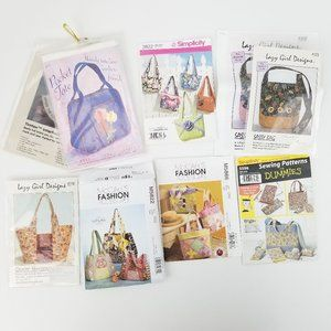 Lot of 7 Purse Sewing Patterns for Totes & Bags